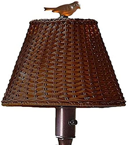 Plow Hearth 39801-BR Waterproof Outdoor Wicker Floor Lamp