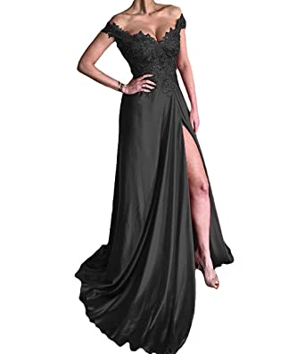 TbDesses Off Shoulder Beaded Evening Dresses Split Side Long Formal Prom Dresses Plus Size