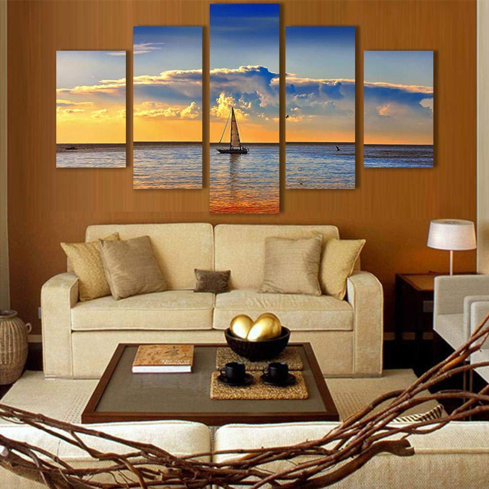 DefectPintura Mural Arte de la Pared sin Vela Fondo de mar Cinco-ligado Simple Fondo Vela Moderno Marco Cuadro Decorativo salón sofá ec148e