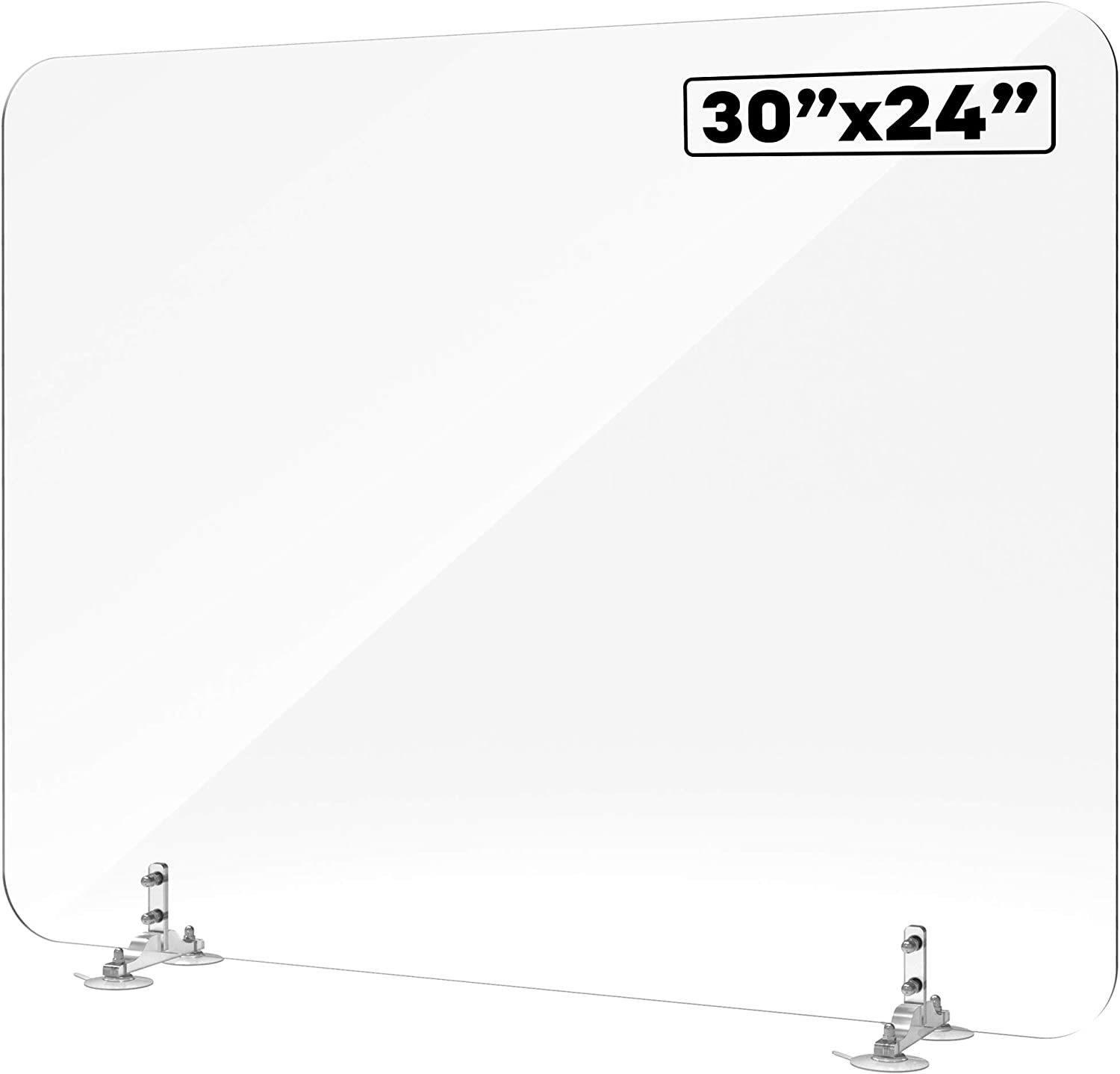 """Shield Geek Sneeze Guard for Desk - Plexiglass Shield with Suction Cup Mount - Crystal Clear Acrylic Plexiglass Barrier - for Office Desk, Counters, and Restaurants - 30"""" Wide x 24"""" Tall"""