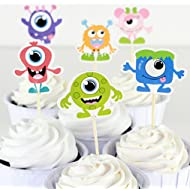 Lauren 24 Pcs Little Monster Qute Alien CupCake Decorative Toppers Cake Decorating Tools for Party