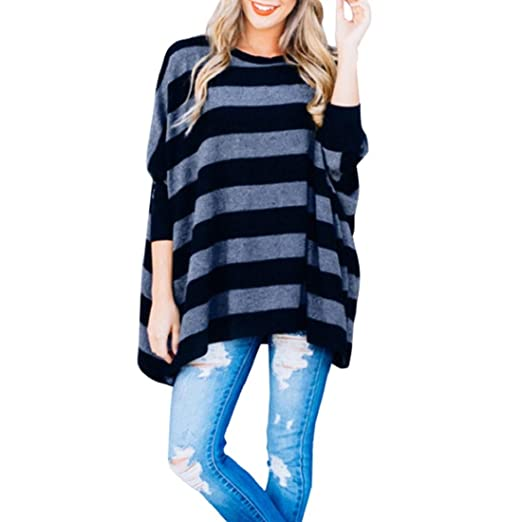 1edf9e83a8 Clearance Women s Plus Size Loose Tops Blouse Pullover Batwing Sleeve  Striped Tops T-Shirt Shirt