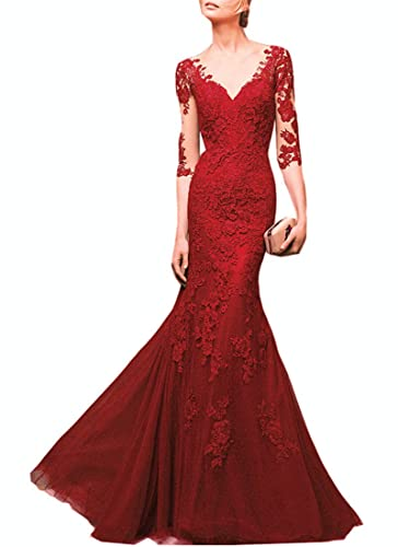 Emmani Women's Long Middle Sleeve V-neck Mermaid Formal Evening Dresses