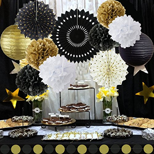 New Year Party Decoration Gold Polka Dot Tissue Paper Fans Black Gold White Tissue Paper Pom Poms Paper Flower Paper Lantern for New Year's Eve Party /Birthday Decorations/Bridal Shower Fascola