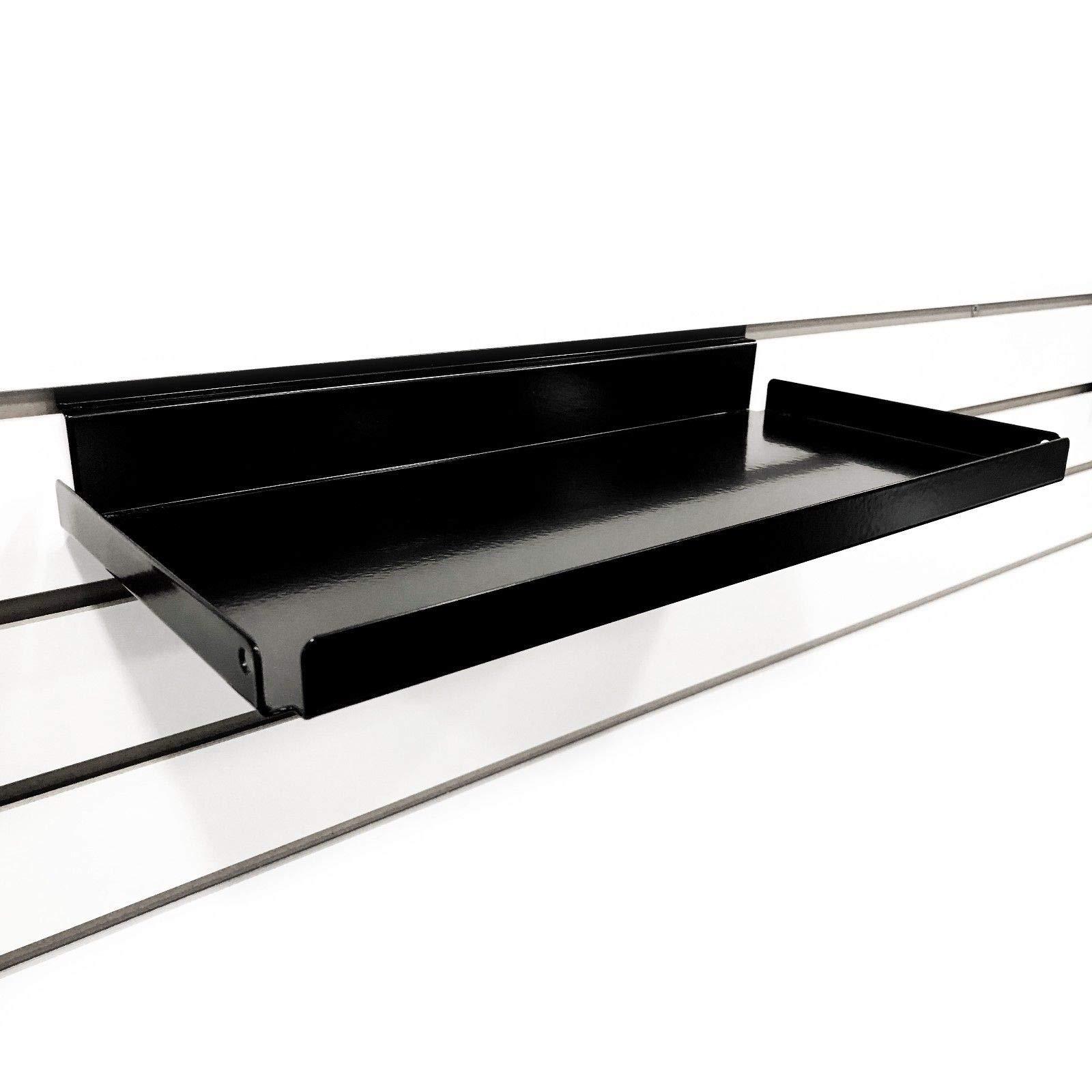 Metal Slatwall Shelf w/ .5'' H Lip, 7.5'' D x 15.5'' L- Black, 10 Pack