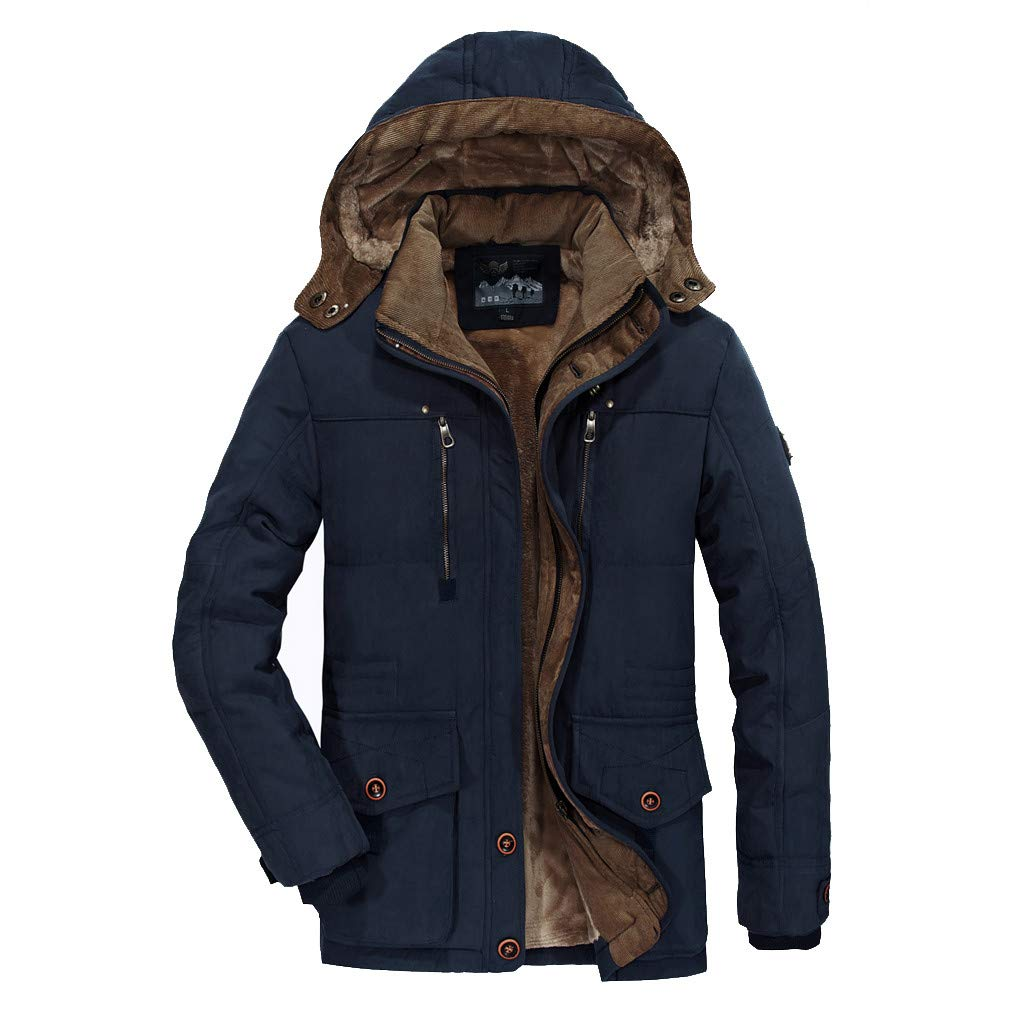 LUCAMORE Men's Winter Warm Faux Fur Lined Coat with Detachable Hood Big & Tall Thicken Parka Jacket Plus Size by Luca-Coat