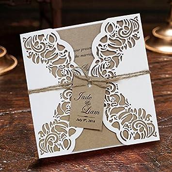 Rustikal Laser Geschnitten Hochzeit Einladung, Papier Hochzeit Einladung  Suite U2013 Set Von 50