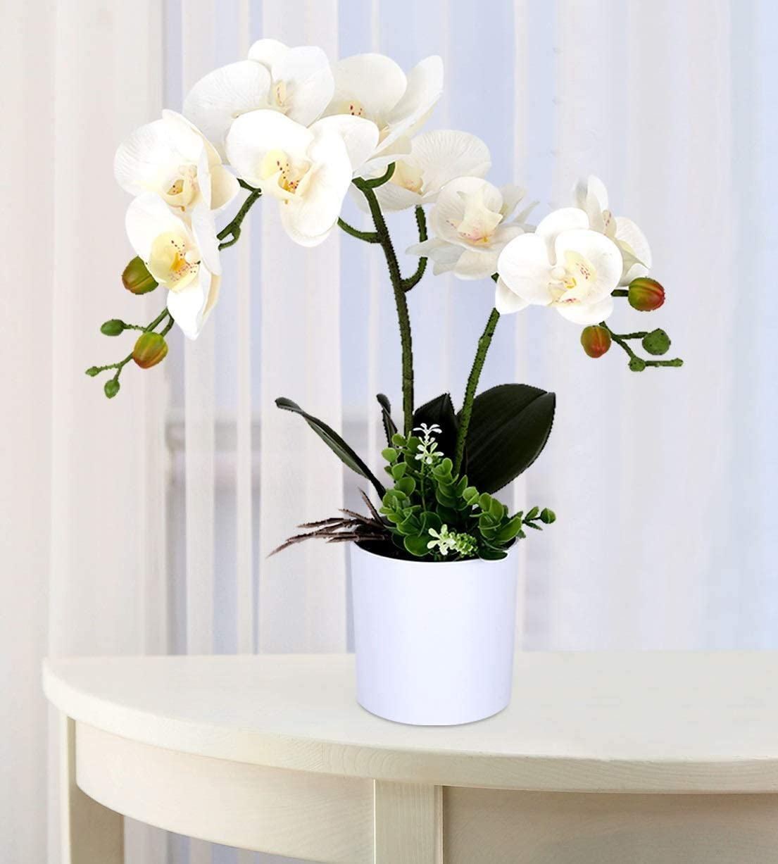 Fake Orchids White Artificial Orchid Faux Orchid Plant Faux Orchid Arrangement for Table Shelf Bathroom Home Decor Indoor