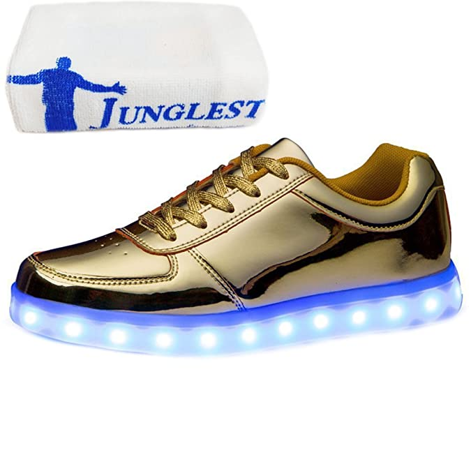 (Present:kleines Handtuch)Gold EU 42, Unisex Flashing Herren (Größe Silber) mode leuchten Luminous JUNGLEST® Sportschuhe Schuhe USB-Lade Turns
