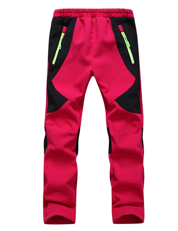 GGBaby [Kinder Gefütterte Softshellhose] Hose Winddicht Wasserabweisend Atmungsaktiv Warm Regenhose Skihose Jungen Mädchen Trekkinghose Wanderhose