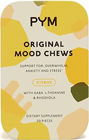 PYM Health Mood Chews, All Natural, Non-GMO, Gluten Free Chewable Supplement Provides Calm & Relief for Stress and Overwhelm, 20 Gummies per Container (3 Pack, 60 Gummies)