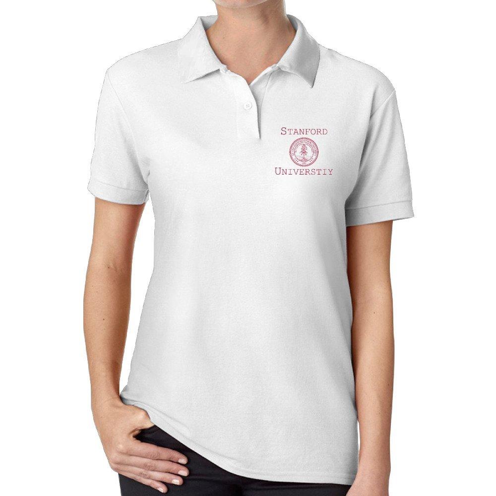 Atm3haoji Womens Stanford University Polo Shirt White