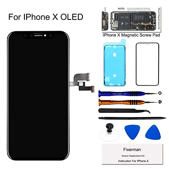 new product eb72f 391b1 Fixerman for iPhone X OLED [NOT LCD] Screen Replacement 5.8 inch, 3D Touch  Display Digitizer Assembly with Repair Tools, Compatible with Model A1865,  ...