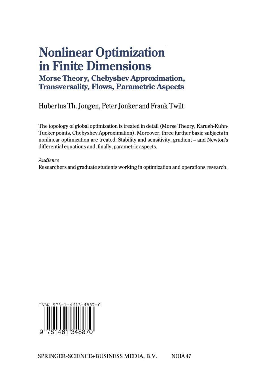 Nonlinear Optimization in Finite Dimensions: Morse Theory