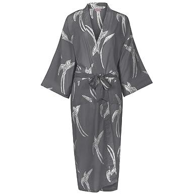 Ladies Cotton Dressing Gown Kimono Robe / Lightweight 100% cotton ...
