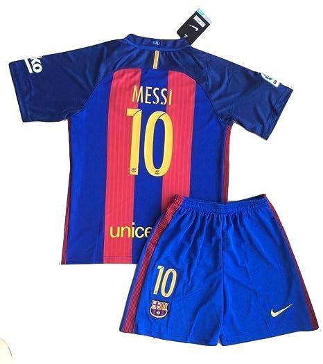 2016/2017 Messi # 10 fc barcelona camiseta & pantalones cortos para niños /jóvenes