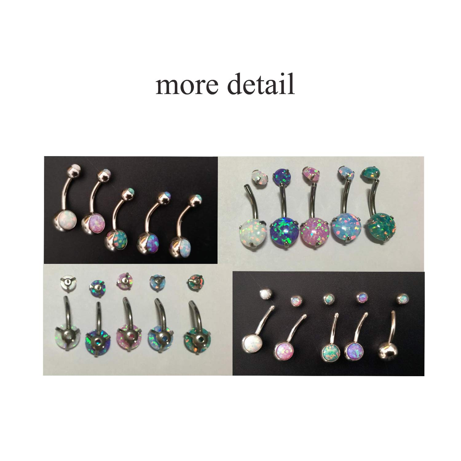 Choose Color 14G Opal Belly Button Rings Curved Surgical Steel Belly Piercings Navel Ring Navel Barbell for Women Girls