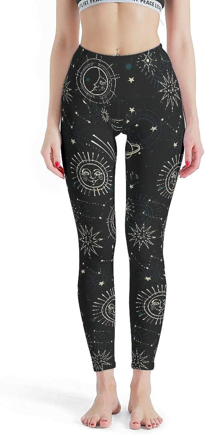 Women leggings black color moon sun printed fitness slim legging S-4XL 3813