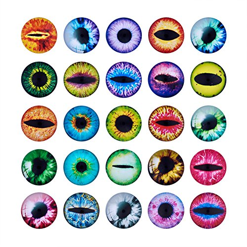 Beadthoven 100pcs 25mm Dragon Eye Dome Printed Glass Cabochons Bezel Mixed Pattern Flatback Half Round Charms for Cameo Pendant Making Dinosaur Owl Animals' Eye Crafts -