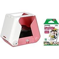 KiiPix Fotodrucker Cherry Blossom Pink   Smartphone kompatibler Sofort-Fotodrucker   mit Fujifilm Instax mini Starterpaket    Polaroid-Bilder