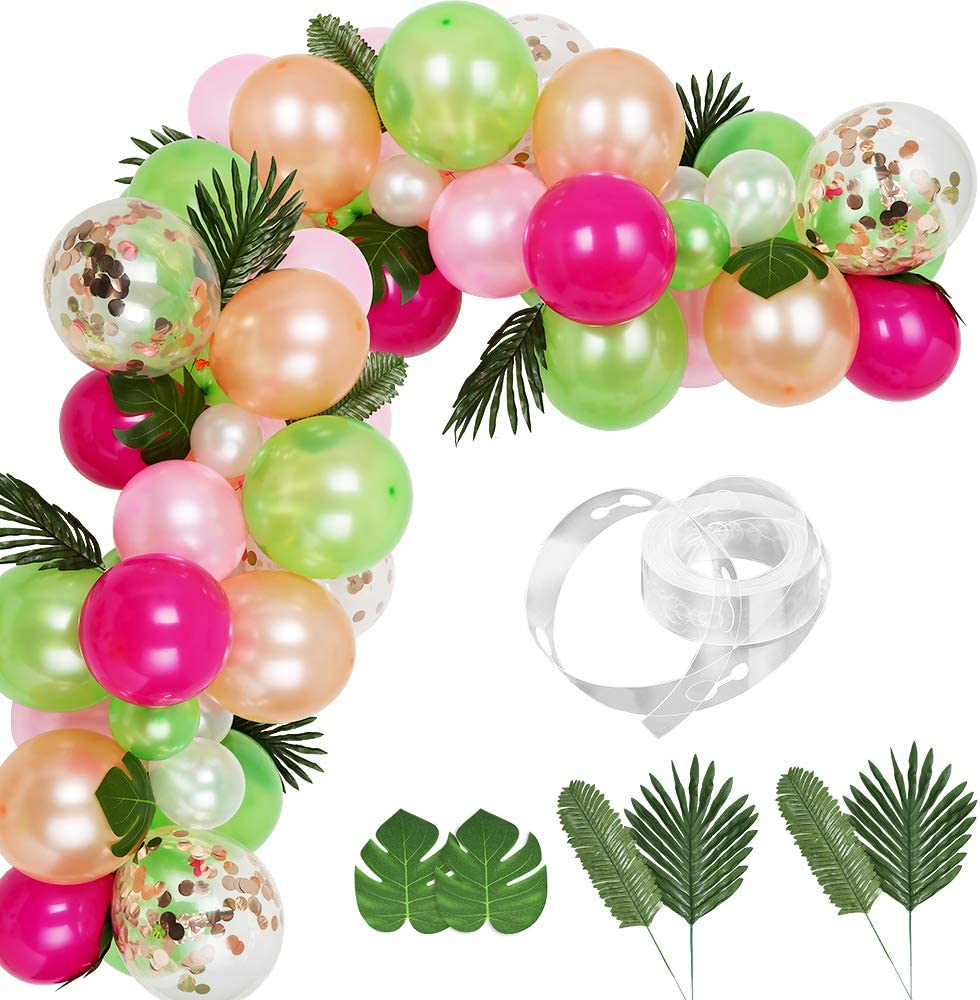 Auihiay 83 Pieces Tropical Balloons Garland Kit DIY Luau Balloon Arch Garland with Palm Leaves and Balloon Strip for Tropical Theme Birthday Party Baby Shower Decorations
