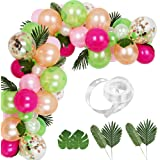 Auihiay 83 Pieces Tropical Balloons Garland Kit DIY Luau Balloon Arch Garland with Palm Leaves and Balloon Strip for Tropical