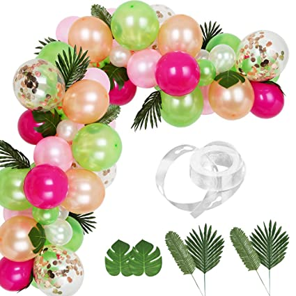 Auihiay 83 Pieces Balloons Garland Kit Diy Hawaii Balloon Arch Garland With Palm Leaves And Balloon Strip For Luau Summer Beach Party Tropical Theme