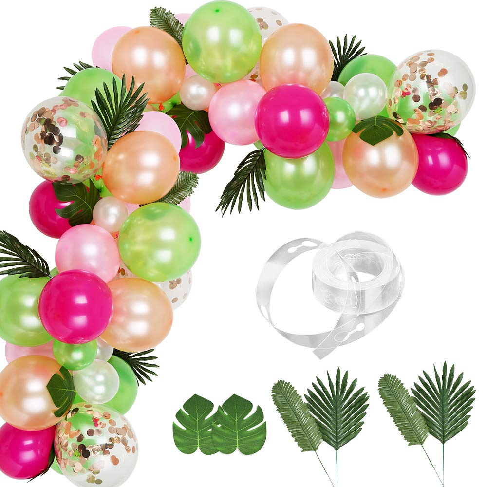 Auihiay 83 Pieces Balloons Garland Kit DIY Hawaii Balloon Arch Garland with Palm Leaves and Balloon Strip for Luau Summer Beach Party Tropical Theme Flamingo Birthday Party Baby Shower