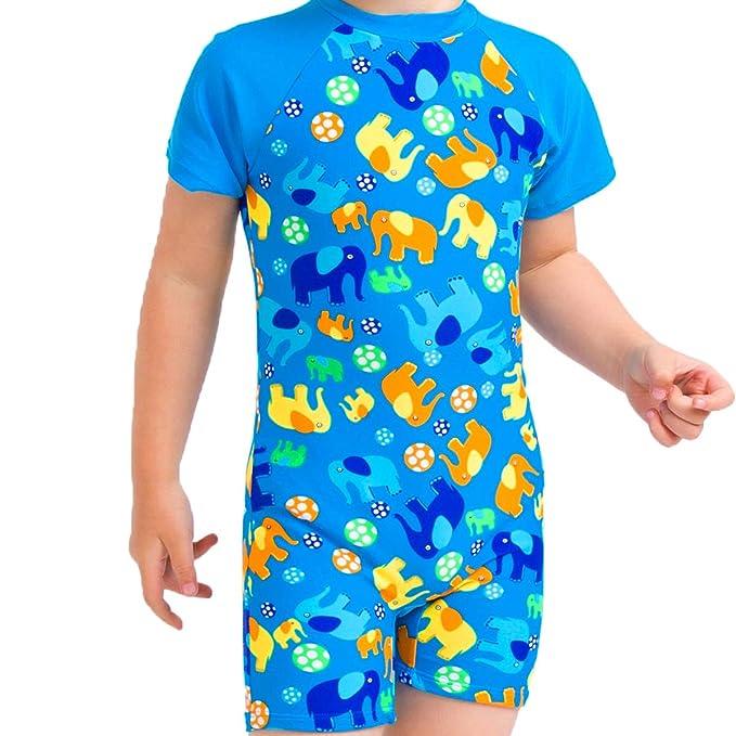 194191fddc Saidi Kids Boys Swimsuit UPF50+ One-Piece Rash Guard Swimsuit (2T, Elephant)
