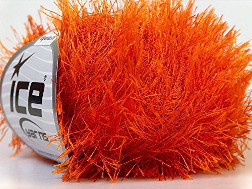 Orange Eyelash Yarn 50 Gram Ice 22757