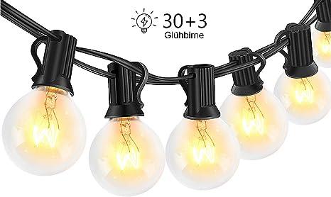 LED Lichterkette für Außen 10 o 20 Glühbirnen je 5 LEDs warmweiß IP44