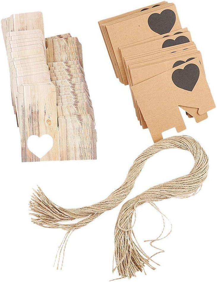 LUOEM 50 St/ück Kraft Hochzeit Geschenkbox Gastgeschenk mit Seil