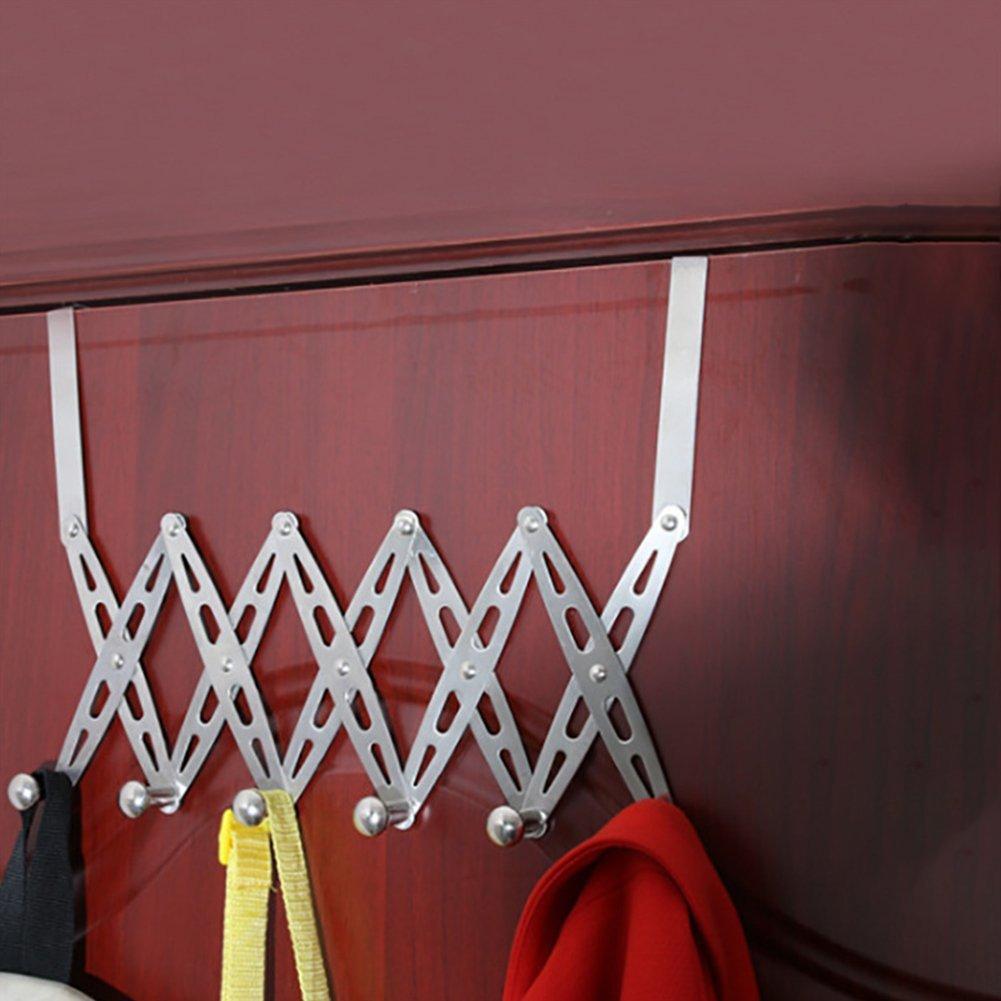 Cibeat Door Hook Door-Back Seamless Stainless Steel Folding Clothes Hanger Retractable Coat Holder Hook Organizer
