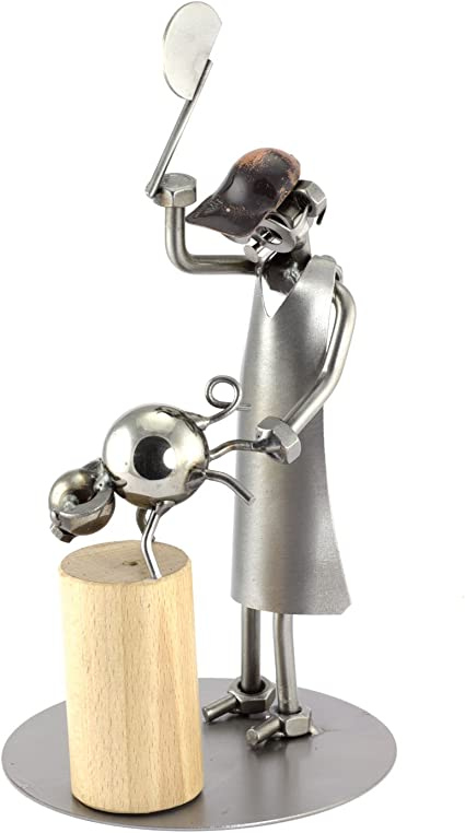 Steelman24 I Figurine en m/étal Boucher avec Hachette I Made in Germany I Id/ées Cadeaux I Sculpture d/'Acier I Hommes de m/étal