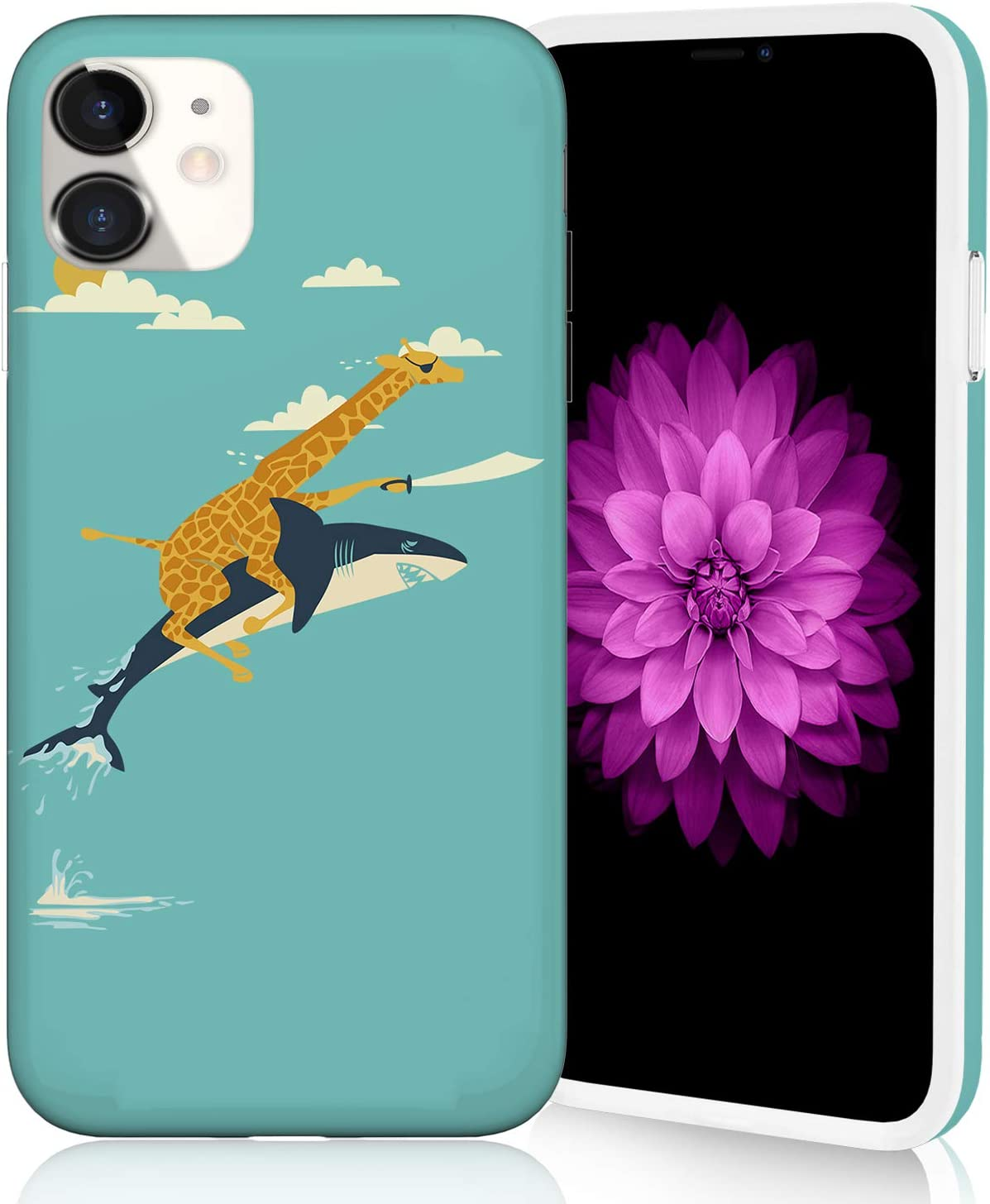 Compatible with iPhone 11 Case 2019, Raised Edges Scratch Resistant Lightweight Flexible Soft TPU Floral Pattern Protective Phone Cover for iPhone 11 - Giraffe and Shark