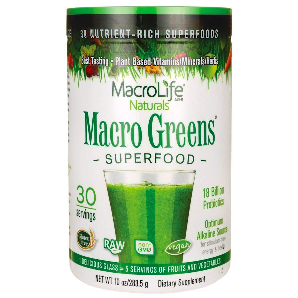 Macro Greens Superfood - 18 Billion Non-Dairy Probiotic Cultures - Raw Green Superfood With