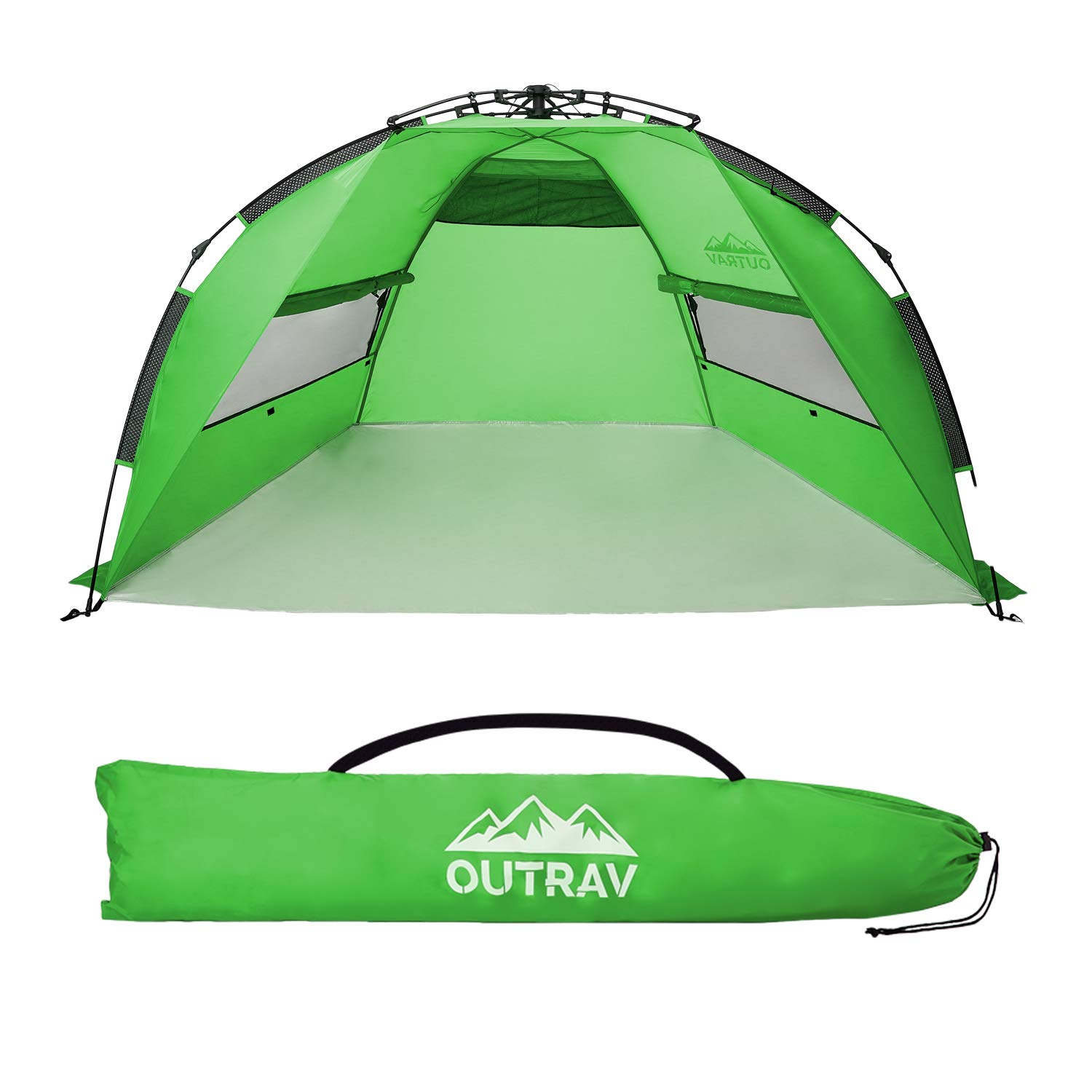 Outrav Pop Up Beach Tent - Quick and Easy Set Up, Family Size, Portable Sun and Water Shelter and Shade Canopy - for Fishing, Camping, Hiking and Outdoor Activities (Green) by Outrav