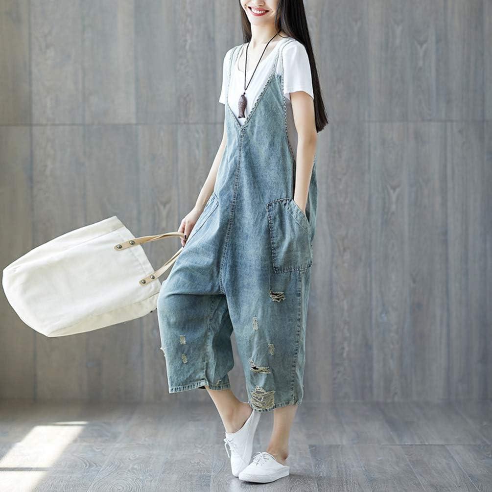 YuanDiann Femme Salopette Denim Jambe Large Impression Grande Taille Combinaison Jeans Romper Grossesse Maternit/é Ample Boyfriend Large Combi Pantalon