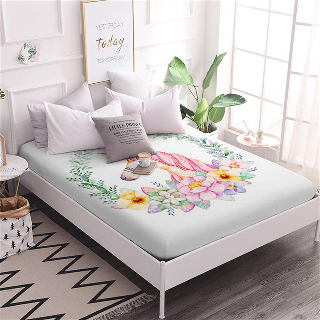 Jessy Home 1Pcs Twin Size Cute Unicorn Flowers Pattern Fitted Sheet for Children and Girls Gift Deep Pocket Cartoon Bedding Set by Jessy Home