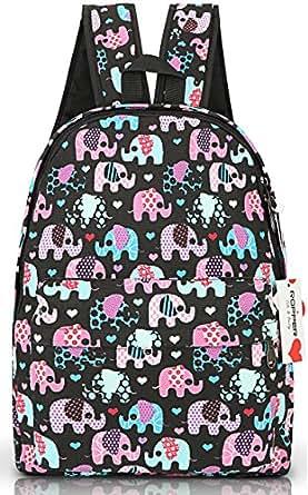"""Ropper Lightweight Canvas Cute Pattern Kids School Backpack,15"""" (Black-Elephant)"""