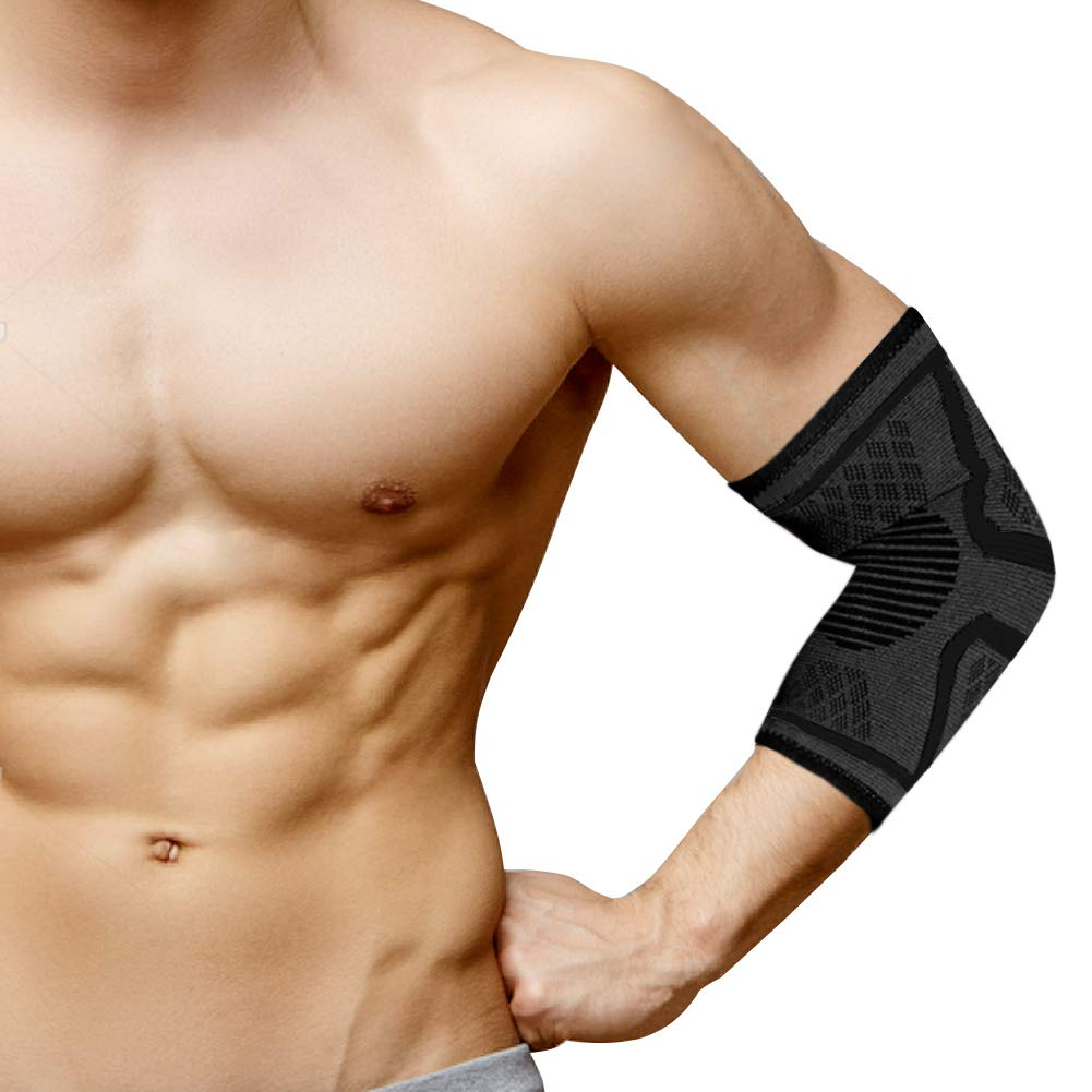 Elbow Brace(Pair)- Compression Support Sleeves for Tennis & Golfers Elbow, Tendonitis,Arthritis, Basketball and Sports-Both for Men and Women,Black (Black, Medium)