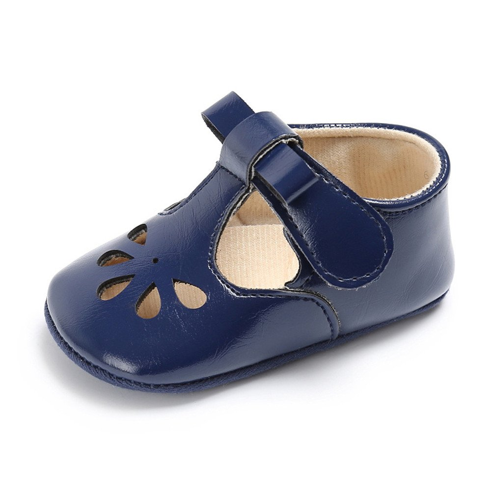 Soft Bottom Solid Girl Breathable Baby Shoes Buckle Strap blue 6