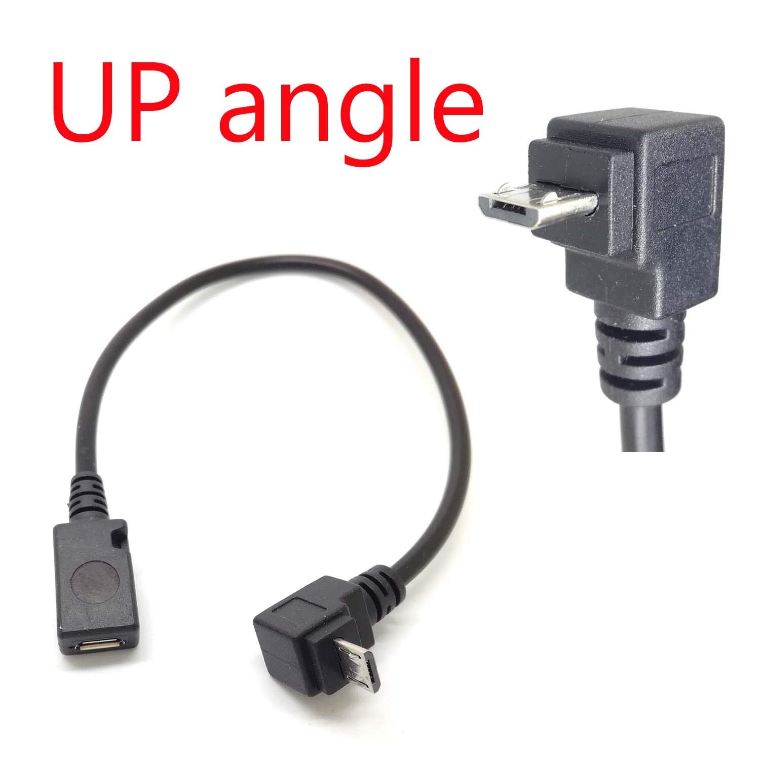 90/° Degree Angle USB Micro B 5P Female to 5P Male Left Right Down Up Angled Extension Cable Adapter for Phone Charger Data Sync Tablet Cord Adaptor /… up Angle