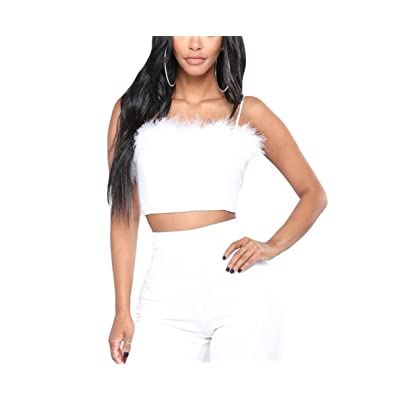 HitZoom Women Sexy Faux Fur Deco Spaghetti Strap Cami Slim Crop Top at Women's Clothing store
