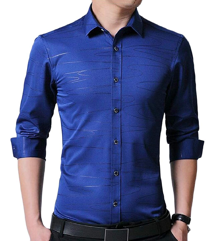 pujingge Men Slim Fit Button Down Shirts Retro Long Sleeve Shirt Tops
