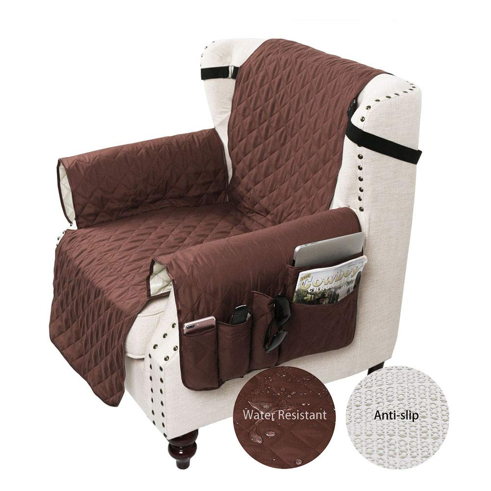 SANLI Chair Cover with Tv Remote Control Holder Armrest Organizer, Sofa Chair Protector with 5 Pocket Armchair Caddy, Chair Size 22'', Coffee