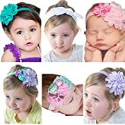 Roewell Baby Girls' Hair Bows With Crystal Flower,Baby Girl Headbands for Baby Shower (6 different style)