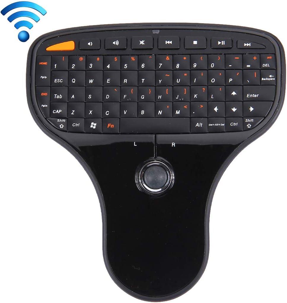 TAIYOUU N5901 Combinación de Mini Teclado y Mouse inalámbricos de 2.4GHz y Mini Receptor USB, tamaño: 125 x 135 x 27 mm (Negro) (Color : Black)