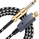 USB Guitar Cable,10 ft Guitar to USB Cable,1/4 Guitar to USB PC Link Recording Adapter,Bass Electric Guitar Real Tone Cable f