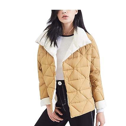 Down jacket Chaqueta De Abajo De Las Mujeres_Elegante Packable Abrigo De Ganso Ultraligero Corto TamañO Amarillo